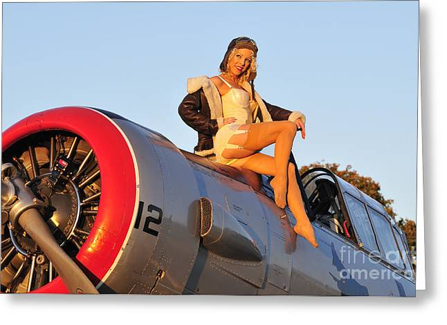 Legs Up Greeting Cards - 1940s Style Aviator Pin-up Girl Posing Greeting Card by Christian Kieffer