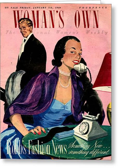 Eveningwear Greeting Cards - 1940s Uk Womans Own Magazine Cover Greeting Card by The Advertising Archives