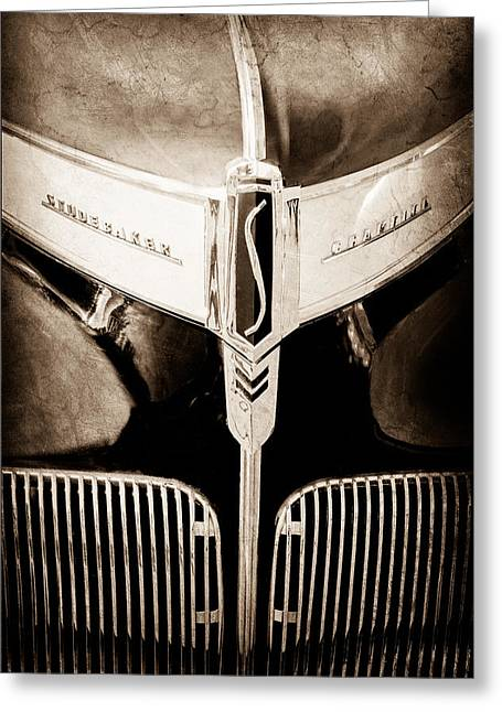 1941 Greeting Cards - 1941 Studebaker Champion Hood Emblem Greeting Card by Jill Reger