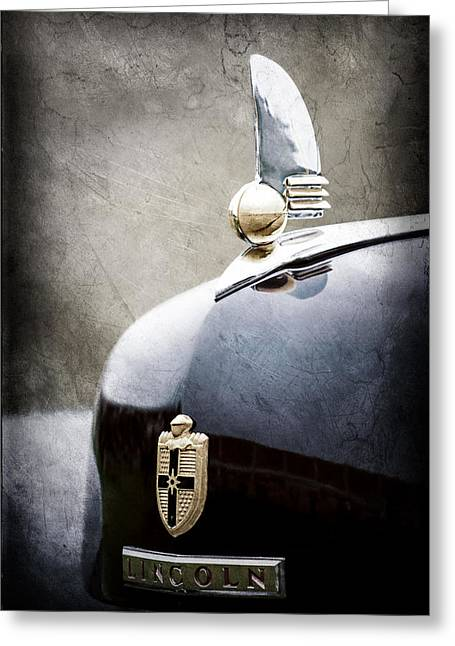 1942 Greeting Cards - 1942 Lincoln Continental Cabriolet Hood Ornament - Emblem Greeting Card by Jill Reger
