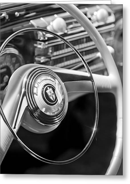 1942 Greeting Cards - 1942 Lincoln Continental Cabriolet Steering Wheel Emblem Greeting Card by Jill Reger