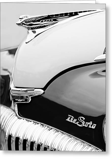 1946 Greeting Cards - 1946 Desoto Hood Ornament Greeting Card by Jill Reger