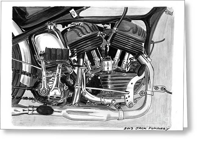 Single Drawings Greeting Cards - 1948 Harley Davidson W L A Greeting Card by Jack Pumphrey
