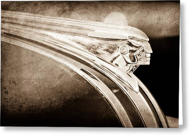 Station Wagon Photographs Greeting Cards - 1948 Pontiac Streamliner Woodie Station Wagon Hood Ornament Greeting Card by Jill Reger