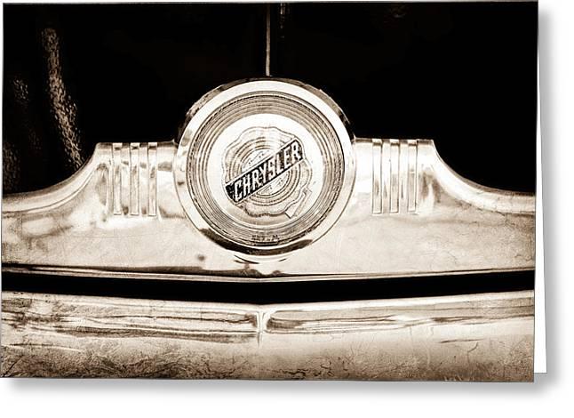 1949 Greeting Cards - 1949 Chrysler Windsor Grille Emblem Greeting Card by Jill Reger