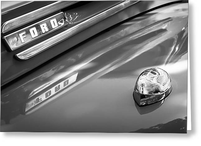 Classic Pickup Greeting Cards - 1949 Ford F-1 Pickup Truck Emblem -0027BW Greeting Card by Jill Reger