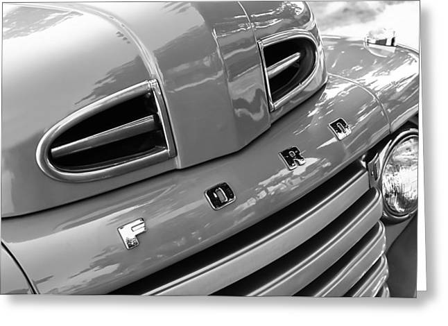Classic Pickup Greeting Cards - 1949 Ford F-1 Pickup Truck Grille Emblem -0009BW Greeting Card by Jill Reger