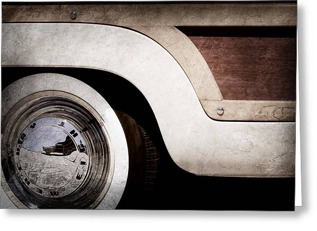 Wagon Wheels Photographs Greeting Cards - 1949 Mercury Station Woodie Wagon Wheel Emblem - Hood Ornament Greeting Card by Jill Reger