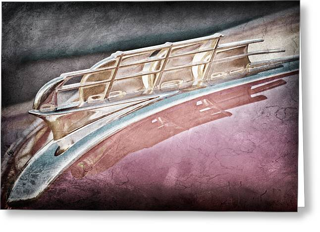 1949 Plymouth Photographs Greeting Cards - 1949 Plymouth Hood Ornament Greeting Card by Jill Reger