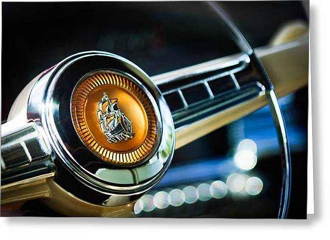 1949 Plymouth Greeting Cards - 1949 Plymouth P-18 Special Deluxe Convertible Steering Wheel Emblem Greeting Card by Jill Reger