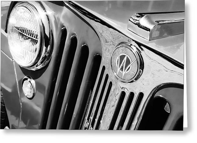 Willys Greeting Cards - 1949 Willys Jeep Station Wagon Grille Emblem Greeting Card by Jill Reger