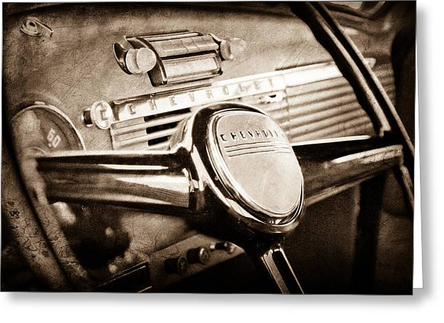 Steering Greeting Cards - 1950 Chevrolet 3100 Pickup Truck Steering Wheel Greeting Card by Jill Reger