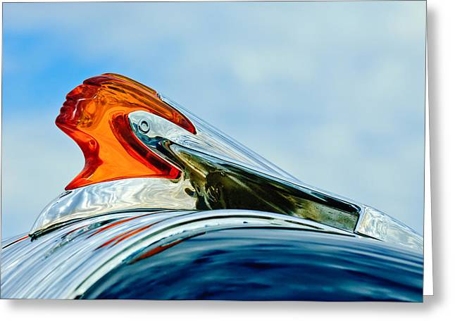 Collector Hood Ornament Greeting Cards - 1950 Pontiac Hood Ornament Greeting Card by Jill Reger