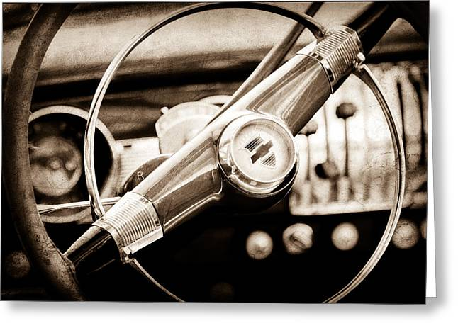 1951 Photographs Greeting Cards - 1951 Chevrolet Convertible Steering Wheel Greeting Card by Jill Reger