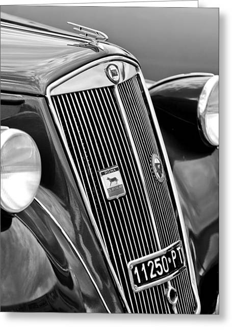 1952 Lancia Ardea 4th Series Berlina Grille Emblems Greeting Card by Jill Reger