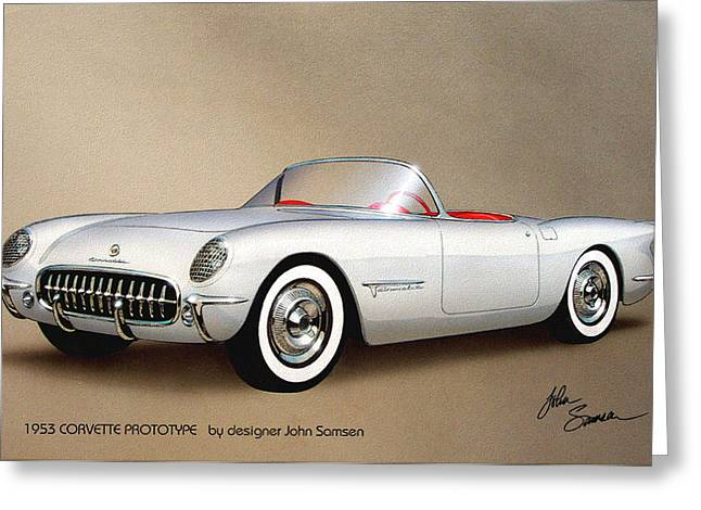 Vintage Design Greeting Cards - 1953 CORVETTE classic vintage sports car automotive art Greeting Card by John Samsen