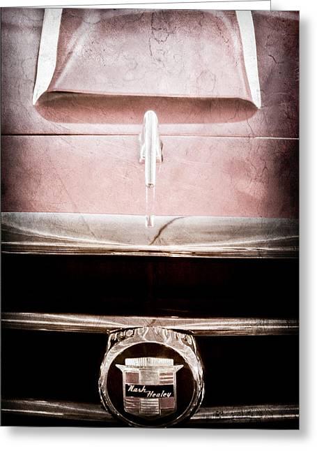 Nash Greeting Cards - 1953 Nash-Healey Roadster Grille Emblem Greeting Card by Jill Reger