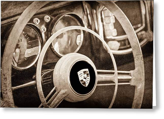 Steering Greeting Cards - 1954 Porsche 356 Bent-Window Coupe Steering Wheel Emblem Greeting Card by Jill Reger