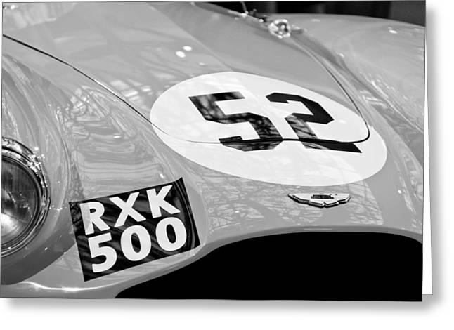 1955 Photographs Greeting Cards - 1955 Aston Martin DB3S Sports Racing Car Hood Greeting Card by Jill Reger