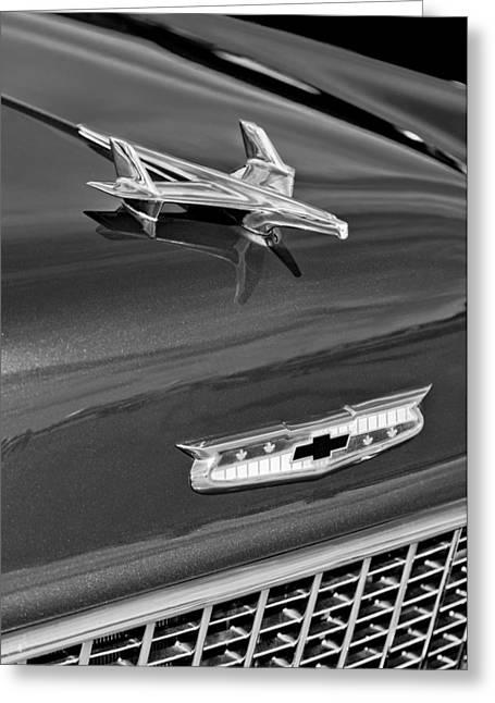 1955 Greeting Cards - 1955 Chevrolet BelAir Hood Ornament Greeting Card by Jill Reger