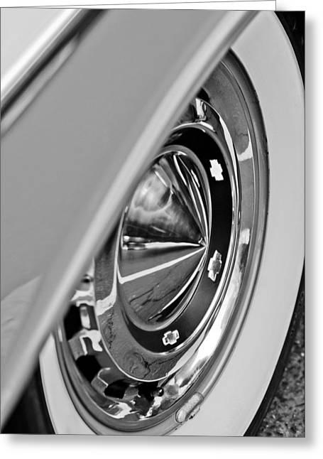 1955 Greeting Cards - 1955 Chevrolet Belair Wheel Greeting Card by Jill Reger