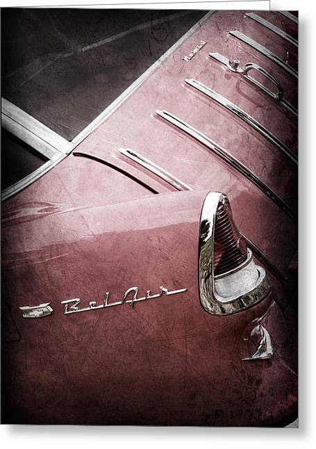 Wagon Greeting Cards - 1955 Chevrolet Nomad Wagon Taillight Emblem Greeting Card by Jill Reger