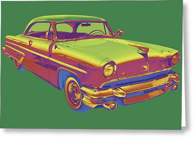 1955 Digital Art Greeting Cards - 1955 Lincoln Capri Luxury Car Greeting Card by Keith Webber Jr
