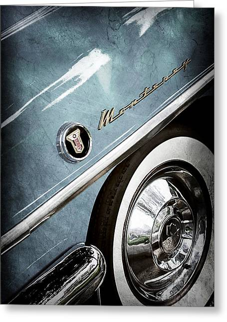 Monterey Greeting Cards - 1955 Mercury Monterey Wheel Emblem Greeting Card by Jill Reger