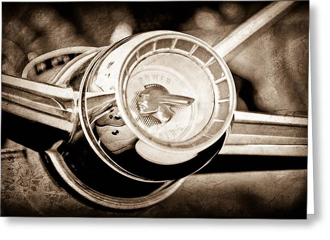1955 Greeting Cards - 1955 Pontiac Safari Steering Wheel Emblem Greeting Card by Jill Reger