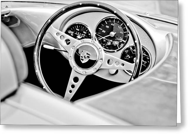 Spyder Greeting Cards - 1955 Porsche Spyder Replica Steering Wheel Emblem Greeting Card by Jill Reger