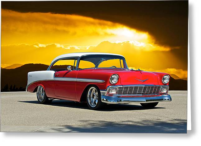 Slam Greeting Cards - 1956 Chevy Bel Air Greeting Card by Dave Koontz