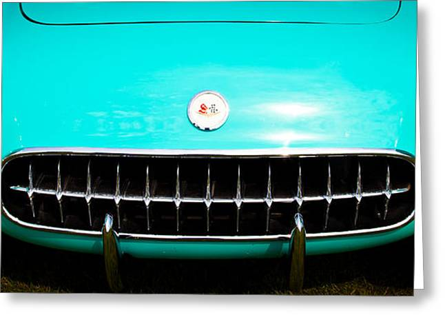 Collector Hood Ornament Greeting Cards - 1956 Chevy Corvette Greeting Card by David Patterson