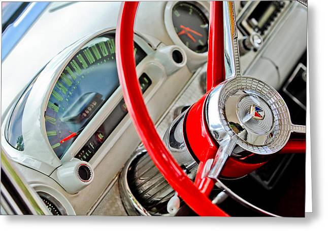 Steering Greeting Cards - 1956 Ford Thunderbird Steering Wheel Greeting Card by Jill Reger