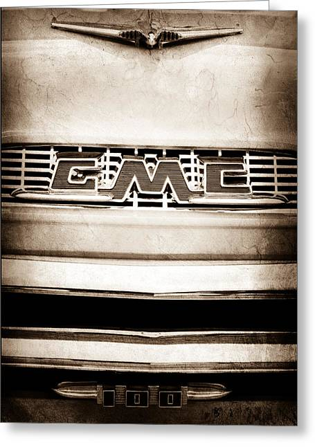 Classic Pickup Greeting Cards - 1956 GMC 100 Deluxe Edition Pickup Truck Emblem Greeting Card by Jill Reger