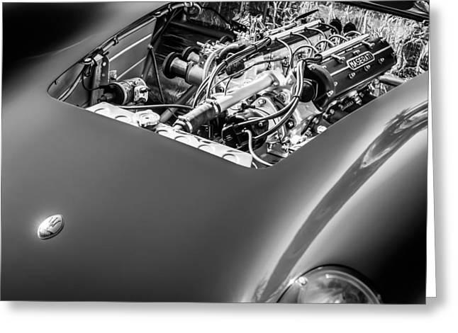 150 Greeting Cards - 1956 Maserati 150S Engine Emblem Greeting Card by Jill Reger