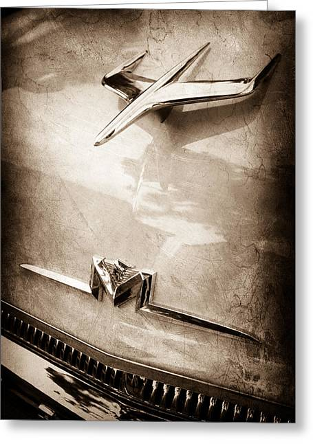 Monterey Greeting Cards - 1956 Mercury Monterey Hood Ornament - Emblem Greeting Card by Jill Reger
