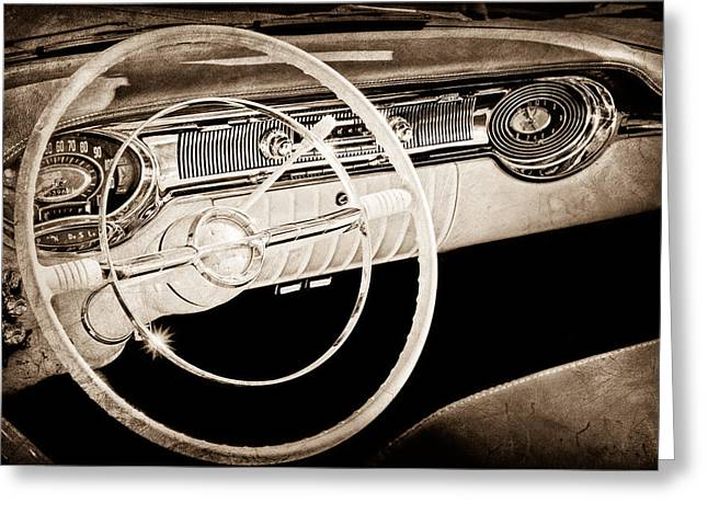 Dashboard Greeting Cards - 1956 Oldsmobile Starfire 98 Steering Wheel and Dashboard Greeting Card by Jill Reger