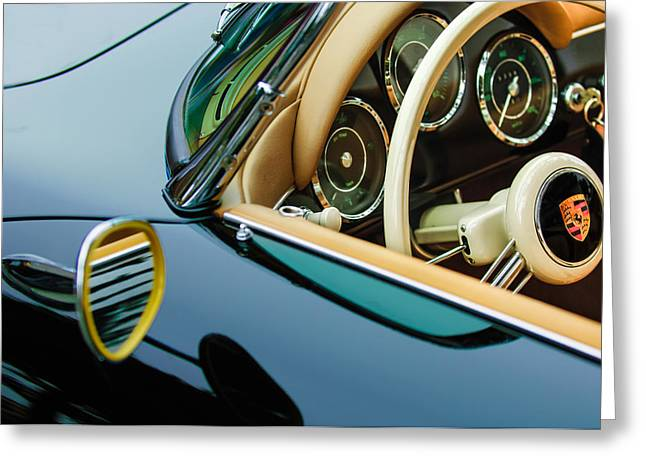 Steering Wheel Greeting Cards - 1956 Porsche 356 A Speedster Steering Wheel Emblem Greeting Card by Jill Reger