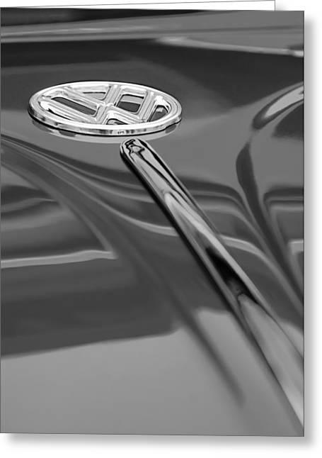 Volkswagon Greeting Cards - 1956 Volkswagen VW Bug Hood Emblem Greeting Card by Jill Reger