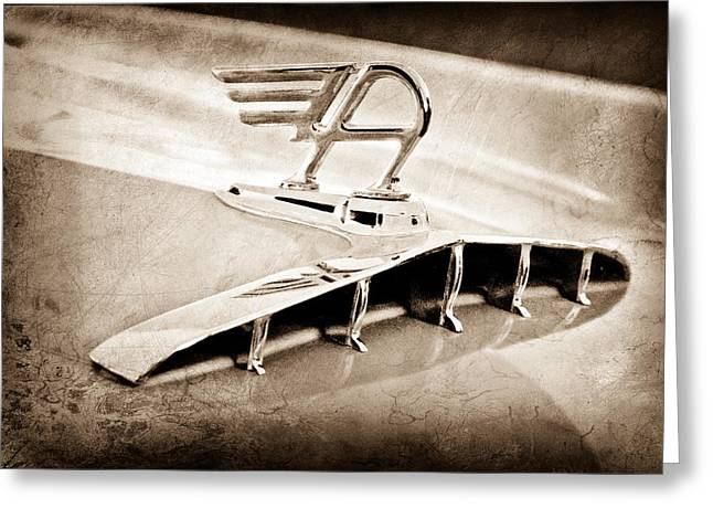 1957 Austin Cambrian 4 Door Saloon Hood Ornament Greeting Card by Jill Reger