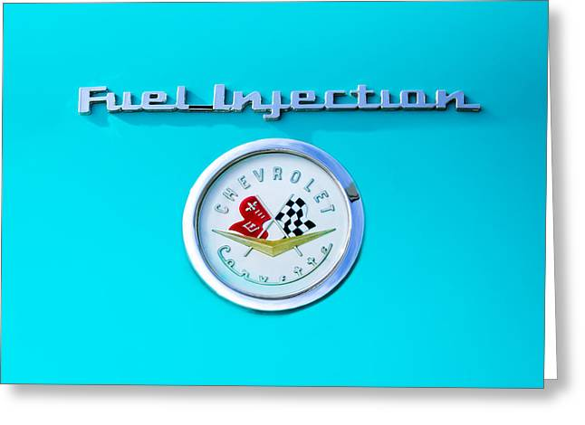 Injection Greeting Cards - 1957 Chevrolet Corvette Emblem Greeting Card by Jill Reger