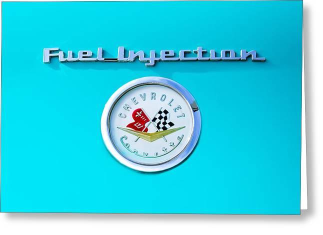 1957 Corvette Greeting Cards - 1957 Chevrolet Corvette Emblem Greeting Card by Jill Reger
