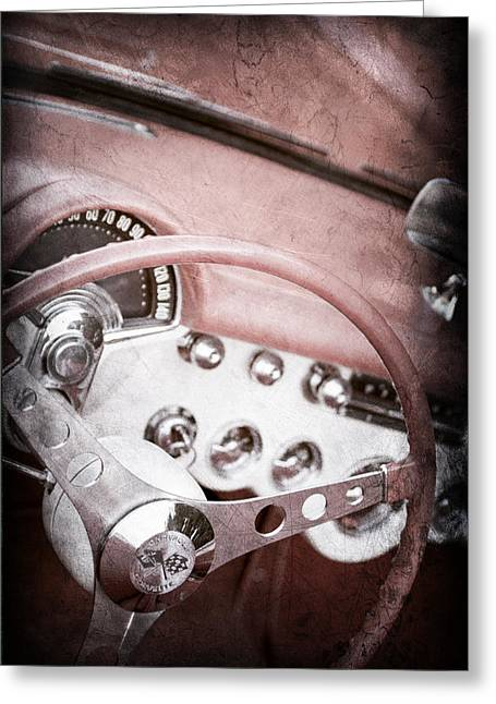 1957 Corvette Greeting Cards - 1957 Chevrolet Corvette Steering Wheel Greeting Card by Jill Reger