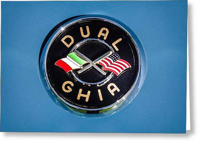 Dual Greeting Cards - 1957 Dual Ghia Sport Emblem Greeting Card by Jill Reger
