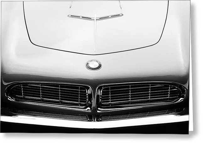 D.w Greeting Cards - 1958 BMW 507 Series II Roadster Hood Emblem Greeting Card by Jill Reger