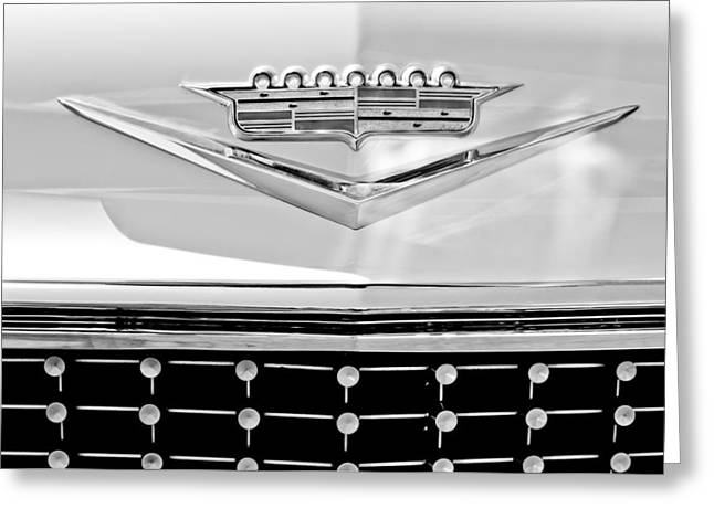 Caddy Greeting Cards - 1958 Cadillac Eldorado Biarritz Convertible Emblem Greeting Card by Jill Reger