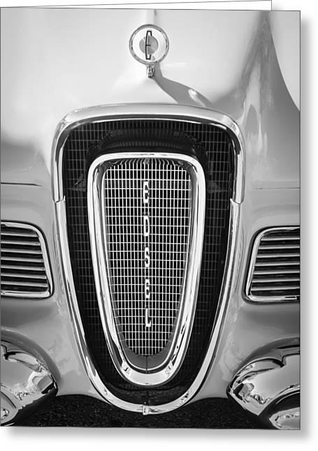 Vintage Hood Ornaments Greeting Cards - 1958 Edsel Pacer Grille Emblem - Hood Ornament Greeting Card by Jill Reger