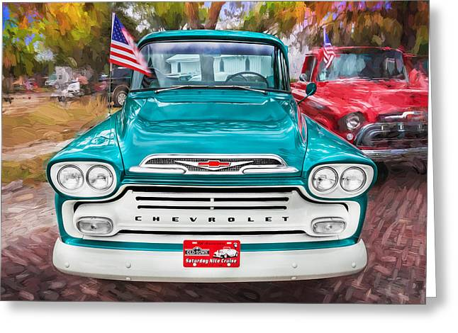 1959 Chevrolet Greeting Cards - 1959 Chevy Pick Up Truck Apache Series Painted  Greeting Card by Rich Franco