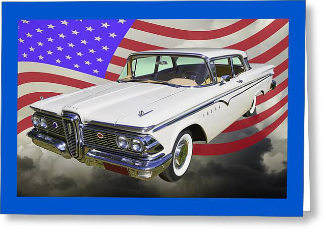 Red White And Blue Greeting Cards - 1959 Edsel Ford Ranger Greeting Card by Keith Webber Jr