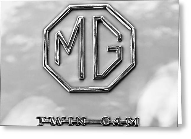 Cam Greeting Cards - 1959 MG A Twin-Cam Coupe Emblem Greeting Card by Jill Reger